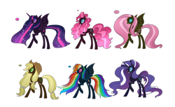 Size: 9138x5604 | Tagged: safe, artist:lumi-infinite64, applejack, fluttershy, nightmare rarity, pinkie pie, rainbow dash, rarity, twilight sparkle, alicorn, earth pony, pegasus, pony, unicorn, evil, evil grin, grin, mane six, nightmare, nightmare applejack, nightmare fluttershy, nightmare pinkie, nightmare rainbow dash, nightmare twilight, nightmarified, simple background, smiling, transparent background, twilight sparkle (alicorn)