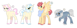 Size: 4924x1800 | Tagged: safe, artist:gigason, oc, oc only, earth pony, pegasus, pony, unicorn, clothes, female, magical lesbian spawn, male, mare, offspring, parent:aloe, parent:aunt holiday, parent:auntie lofty, parent:flam, parent:flim, parent:lightning dust, parent:limestone pie, parent:lotus blossom, parents:flamaloe, parents:limedust, parents:lofty day, parents:lotusflim, scarf, simple background, stallion, transparent background