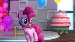 Size: 1432x810 | Tagged: safe, screencap, pinkie pie, hello pinkie pie, balloon, cupcake, food, giant cupcake