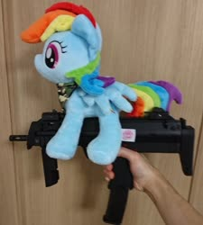Size: 1846x2048 | Tagged: safe, artist:omegapony16, rainbow dash, pegasus, pony, airsoft, female, gun, hand, irl, mare, mp7, neckerchief, photo, plushie, toy, weapon