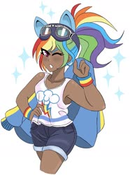 Size: 1763x2368 | Tagged: safe, artist:mscreepyplaguedoctor, kotobukiya, rainbow dash, human, equestria girls, alternate hairstyle, armpits, bishoujo, clothes, cute, dark skin, dashabetes, denim shorts, female, goggles, goggles on head, human coloration, humanized, jacket, jean shorts, kotobukiya rainbow dash, legs, one eye closed, pony ears, ponytail, sexy, shorts, simple background, solo, tanktop, thighs, tomboy, white background, wink, wristband