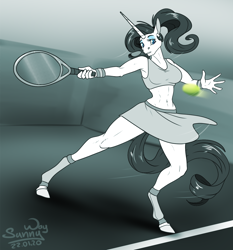 Size: 1000x1074 | Tagged: safe, artist:sunny way, rarity, anthro, pony, unicorn, armpits, beautiful, clothes, competition, female, horn, mare, miniskirt, patreon, patreon reward, ponytail, sexy, skirt, solo, sports, tennis, tennis ball, tennis racket, thighs