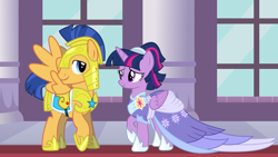 Size: 2064x1161 | Tagged: safe, flash sentry, twilight sparkle, alicorn, pegasus, pony, the last problem, spoiler:s09e26, armor, canterlot castle, clothes, coronation dress, dress, female, flashlight, friendship, hearts and hooves day, holiday, knight, looking at each other, male, princess, royal guard armor, second coronation dress, shipping, straight, twilight sparkle (alicorn), valentine's day