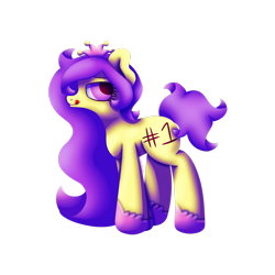 Size: 1920x1920   Tagged: safe, artist:embroidered equations, oc, oc only, oc:flutterby, earth pony, pony, body writing, lineless, lineless art, lineless fullbody, long mane, purple, purple eyes, purple mane, purple tail, short tail, simple background, solo, transparent background, yellow, yellow coat