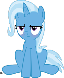 Size: 1440x1745 | Tagged: safe, artist:anime-equestria, trixie, cat, unicorn, blushing, cute, diatrixes, female, grumpy, grumpy cat, mare, simple background, sitting, solo, transparent background, vector