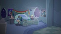 Size: 1440x808 | Tagged: safe, artist:brutalweather studio, fluttershy, rainbow dash, pegasus, pony, bed, cute, implied flutterdash, implied lesbian, implied shipping, plushie, prone, rainbow dash's bedroom, rainbow dash's house, sleeping, the cutie remark prequel, wonderbolts, youtube link