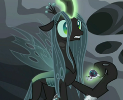 Size: 1319x1071 | Tagged: safe, edit, edited screencap, screencap, grubber, queen chrysalis, changeling, changeling larva, changeling queen, my little pony: the movie, the times they are a changeling, cropped, female, grub, magic, male, pun, shocked, telekinesis