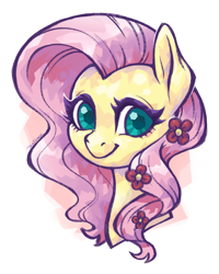 Size: 4405x5506 | Tagged: safe, artist:taytinabelle, fluttershy, crystal pony, pegasus, pony, absurd resolution, bust, crystallized, cute, digital art, female, flower, flower in hair, looking at you, mare, shyabetes, simple background, smiling, solo, wavy hair, white background