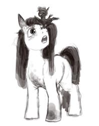 Size: 3054x3868 | Tagged: safe, artist:misstwipietwins, oc, oc:inkenel, oc:oretha, pony, grayscale, monochrome, size difference