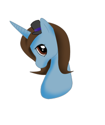 Size: 930x1101   Tagged: safe, artist:whitewing1, oc, oc:megan, pony, unicorn, bust, female, hat, mare, portrait, simple background, solo, top hat, transparent background