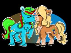 Size: 2000x1500 | Tagged: safe, artist:euspuche, oc, oc only, oc:ayma, oc:wander bliss, earth pony, unicorn, commission, eyes closed, kissing