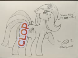 Size: 2048x1536 | Tagged: safe, artist:ratofdrawn, oc, oc only, pony, unicorn, bronycon, bronycon 2019, censored, female, glowing horn, horn, lineart, mare, monochrome, raised hoof, signature, solo, speech, sticker, traditional art