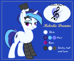 Size: 4000x3273 | Tagged: safe, artist:n0kkun, oc, oc only, oc:melodic dreams, pony, unicorn, icey-verse, bedroom eyes, blue background, bow, clothes, ear piercing, earring, eyeshadow, female, grin, hair bow, hat, jewelry, magical lesbian spawn, makeup, mare, multicolored hair, offspring, parent:octavia melody, parent:vinyl scratch, parents:scratchtavia, piercing, reference sheet, simple background, smiling, socks, solo, striped socks, top hat
