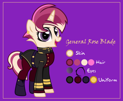 Size: 4000x3273 | Tagged: safe, artist:n0kkun, oc, oc only, oc:general rose blade, pony, unicorn, belt, boots, clothes, coat, ear piercing, earring, female, jewelry, mare, military uniform, multicolored hair, open mouth, piercing, purple background, reference sheet, shoes, simple background, socks, solo, tail wrap