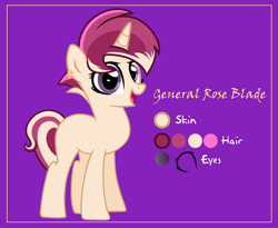 Size: 6098x4989 | Tagged: safe, alternate version, artist:n0kkun, oc, oc only, oc:general rose blade, pony, unicorn, blank flank, ear piercing, earring, female, jewelry, mare, multicolored hair, open mouth, piercing, purple background, reference sheet, simple background, solo
