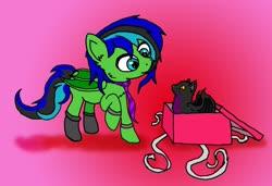 Size: 1754x1198   Tagged: safe, artist:torpy-ponius, oc, oc only, oc:torpy, bat pony, cat, pony, bat pony oc, box, clothes, gift box, holiday, necktie, one hoof raised, socks, valentine's day