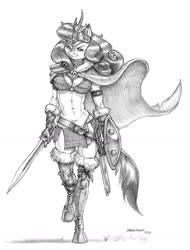 Size: 1000x1316 | Tagged: safe, artist:baron engel, autumn blaze, anthro, kirin, unguligrade anthro, armor, barbarian, belt, boots, breasts, buckler, busty autumn blaze, cape, chainmail, chainmail bikini, cleavage, clothes, female, gloves, grayscale, implied autumnjack, loincloth, midriff, monochrome, muscles, muscular female, pencil drawing, shield, shoes, simple background, solo, sword, traditional art, unconvincing armor, weapon, white background