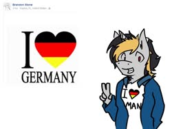 Size: 1024x768 | Tagged: safe, artist:arrwulf, oc, oc only, anthro, unicorn, clothes, germany, grin, heart, male, peace sign, smiling