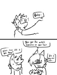 Size: 768x1024 | Tagged: safe, artist:arrwulf, oc, oc only, anthro, dragon, pony, unicorn, anthro with ponies, comic, dialogue, fourth wall, furry oc, lineart, male, monochrome, signature, stallion