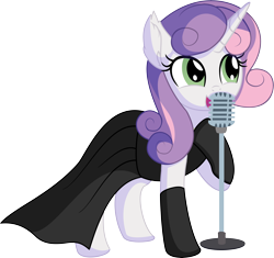Size: 6776x6363 | Tagged: safe, artist:cyanlightning, sweetie belle, pony, unicorn, .svg available, absurd resolution, audrey hepburn, black dress, breakfast at tiffany's, clothes, dress, elegant, evening gloves, female, gloves, gown, holly golightly, jewelry, jewels, little black dress, long gloves, mare, microphone, older, older sweetie belle, simple background, singing, smiling, solo, svg, transparent background, vector