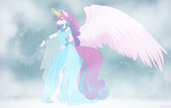 Size: 1714x1080 | Tagged: safe, artist:j3r1k0, derpibooru exclusive, princess flurry heart, alicorn, anthro, unguligrade anthro, blizzard, bracelet, clothes, colored wings, crown, crying, crystal empire, crystal heart, dress, female, frown, frozen north, glowing horn, hoof shoes, hooves, horn, horn jewelry, horn ring, ice magic, jewelry, large wings, lidded eyes, long tail, magic, magic aura, mare, mourning, multicolored wings, nail polish, older, older flurry heart, outdoors, regalia, sad, snow, snowfall, solo, spread wings, storm, teary eyes, unshorn fetlocks, walking, wings