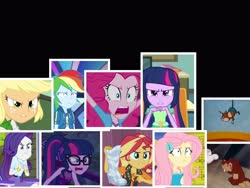 Size: 4000x3000 | Tagged: safe, artist:questphillips, edit, edited screencap, screencap, applejack, fluttershy, pinkie pie, rainbow dash, rarity, sci-twi, sunset shimmer, twilight sparkle, alicorn, dance magic, equestria girls, equestria girls (movie), equestria girls series, holidays unwrapped, rainbow rocks, rarity investigates: the case of the bedazzled boot, spring breakdown, spoiler:eqg series, spoiler:eqg series (season 2), spoiler:eqg specials, angry, crying, fluttershy's butterflies: rainbow dash, herman and katnip, herman the mouse, humane five, humane seven, humane six, incomplete twilight strong, katnip the cat, twilight sparkle (alicorn)
