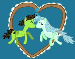 Size: 1280x1011 | Tagged: safe, artist:sb1991, fluttershy, oc, oc:film reel, pegasus, pony, bubble, canon x oc, heart, heart bubbles, hearts and hooves day, holiday, kissing, underwater, valentine's day