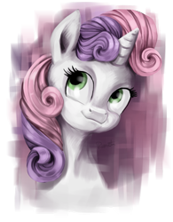 Size: 677x866   Tagged: safe, artist:rumista, sweetie belle, pony, unicorn, bust, partial background, portrait, simple background, solo, transparent background