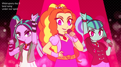 Size: 1772x977 | Tagged: safe, artist:burgeroise, adagio dazzle, aria blaze, sonata dusk, equestria girls, rainbow rocks, evil grin, female, grin, looking at you, microphone, no pupils, singing, smiling, the dazzlings, under our spell