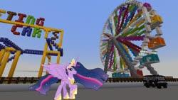 Size: 1334x750   Tagged: safe, edit, editor:topsangtheman, twilight sparkle, alicorn, pony, the last problem, barely pony related, ferris wheel, game screencap, looking at you, minecraft, older, older twilight, photoshop, princess twilight 2.0, roller coaster, twilight sparkle (alicorn), van