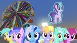 Size: 1334x750 | Tagged: safe, artist:bluemeganium, edit, editor:topsangtheman, berry punch, berryshine, cloud kicker, lyra heartstrings, minuette, sea swirl, seafoam, starlight glimmer, sunshower raindrops, earth pony, pegasus, pony, unicorn, ferris wheel, game screencap, levitation, looking at you, magic, minecraft, photoshop, sunset, telekinesis