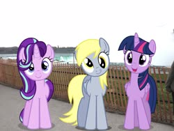 Size: 2049x1537 | Tagged: safe, edit, editor:topsangtheman, derpy hooves, starlight glimmer, twilight sparkle, alicorn, pegasus, pony, unicorn, irl, looking at you, new york, niagara falls, photo, ponies in real life, twilight sparkle (alicorn)
