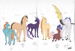 Size: 900x614 | Tagged: safe, artist:sdlhf, oc, oc only, oc:dovetail, oc:kite, oc:lionheart, oc:magna, oc:oasis, oc:valerian, classical unicorn, pony, unicorn, cloven hooves, hybrid wings, leonine tail, mixed media, offspring, parent:big macintosh, parent:cheese sandwich, parent:flash sentry, parent:fluttershy, parent:pinkie pie, parent:rainbow dash, parent:rarity, parent:soarin', parent:thunderlane, parent:twilight sparkle, parents:cheesepie, parents:donutjack, parents:flashlight, parents:fluttermac, parents:rarilane, parents:soarindash, simple background, traditional art, unshorn fetlocks, white background, wings