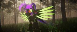 Size: 3840x1620 | Tagged: safe, artist:phoenixtm, oc, oc:phoenix stardash, cyborg, dracony, dragon, hybrid, pony, 3d, cyborg dracony, dracony alicorn, forest, grass, happy, spread wings, tree, unity (game engine), wings