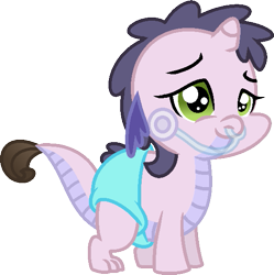 Size: 557x560 | Tagged: safe, artist:starryoak, oc, oc:miracle, dracony, hybrid, baby, breathing tube, diaper, interspecies offspring, offspring, parent:rarity, parent:spike, parents:sparity, sickly, simple background, solo, transparent background