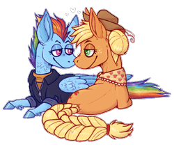Size: 700x600 | Tagged: safe, artist:sugartabby72600, applejack, rainbow dash, earth pony, pegasus, pony, the last problem, appledash, cutie mark, feathered fetlocks, female, heart, lesbian, lidded eyes, looking at each other, mare, older, older applejack, older rainbow dash, prone, shipping, simple background, smiling, transparent background, white outline