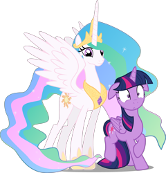 Size: 3830x3996 | Tagged: safe, artist:badumsquish, artist:felix-kot, edit, edited edit, editor:slayerbvc, vector edit, princess celestia, twilight sparkle, alicorn, pony, celestia is amused, celestia's crown, female, floppy ears, hoof shoes, mare, peytral, shocked, smiling, tail between legs, twilight sparkle (alicorn), varying degrees of amusement, vector