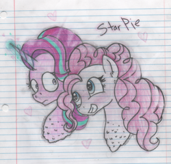 Size: 776x746 | Tagged: safe, artist:abbi--arson, pinkie pie, starlight glimmer, pony, bust, female, glimmerpie, lesbian, lined paper, magic, portrait, shipping, traditional art