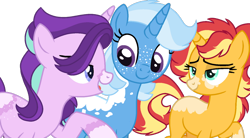 Size: 1280x707 | Tagged: safe, artist:klawiee, starlight glimmer, sunset shimmer, trixie, pony, unicorn, alternate design, alternate universe, counterparts, female, friendshipverse, lesbian, mare, polyamory, shimmerglimmer, shipping, simple background, startrix, startrixset, suntrix, transparent background, twilight's counterparts