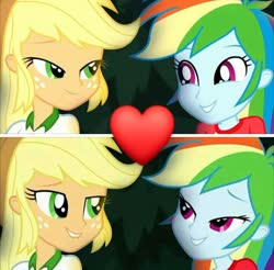 Size: 720x709 | Tagged: safe, edit, edited screencap, screencap, applejack, rainbow dash, equestria girls, legend of everfree, appledash, female, lesbian, looking at each other, shipping, shipping domino