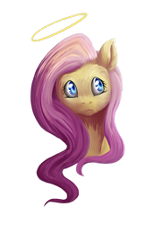 Size: 1024x1477 | Tagged: safe, artist:fixielle, fluttershy, pony, angel, bust, female, fluffy, fluttershy the angel, halo, looking up, mare, simple background, solo, transparent background