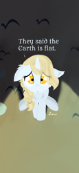Size: 1080x2340 | Tagged: safe, artist:kotwitz, oc, oc:aria taitava, pony, unicorn, blonde, braid, dialogue, discussion in the comments, flat earth, floppy ears, fluffy, frown, looking at you, looking up, sad, sitting, solo