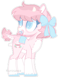 Size: 764x1032 | Tagged: safe, artist:kurosawakuro, artist:nocturnal-moonlight, oc, oc only, earth pony, pony, base used, bow, female, hair bow, pacifier, simple background, solo, teenager, transparent background, white outline