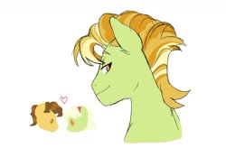 Size: 1024x673 | Tagged: safe, artist:pikokko, grand pear, granny smith, oc, oc:luster rush, earth pony, heart, offspring, parent:grand pear, parent:granny smith, parents:pearsmith, pearsmith, simple background, white background, young grand pear, young granny smith, younger