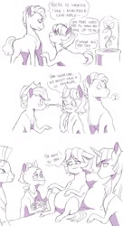 Size: 1024x1883 | Tagged: safe, artist:pikokko, applejack, grand pear, granny smith, twilight sparkle, zecora, alicorn, earth pony, pony, growing up is hard to do, the perfect pear, bed, blushing, comic, dialogue, flirting, flower, headcanon, headcanon in the description, monochrome, pearsmith, pregnant, twilight sparkle (alicorn), whistling, young grand pear, young granny smith, younger