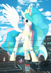 Size: 700x1000 | Tagged: safe, artist:feuerrader-nmm, dj pon-3, princess celestia, twilight sparkle, vinyl scratch, alicorn, pony, unicorn, 3d, car, giant pony, giantlestia, macro, source filmmaker, twilight sparkle (alicorn)