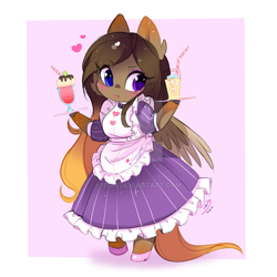 Size: 600x600 | Tagged: safe, artist:ipun, oc, oc only, anthro, pegasus, unguligrade anthro, anthro oc, arm hooves, blushing, chibi, clothes, dress, female, heart, maid, mare, shoes, solo