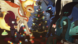 Size: 1920x1080 | Tagged: safe, artist:feuerrader-nmm, daybreaker, nightmare moon, queen chrysalis, tempest shadow, changeling, pony, 3d, christmas, christmas lights, christmas tree, holiday, present, tree