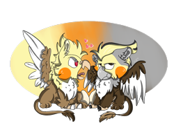 Size: 2000x1500 | Tagged: safe, artist:euspuche, bird, cockatiel, griffon, angry, chibi, commission, egg, fluffy, looking at you, love