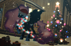 Size: 1700x1100 | Tagged: safe, artist:feuerrader-nmm, nightmare moon, pony, 3d, christmas, christmas lights, christmas tree, hat, holiday, present, santa hat, snow, snowfall, solo, tree